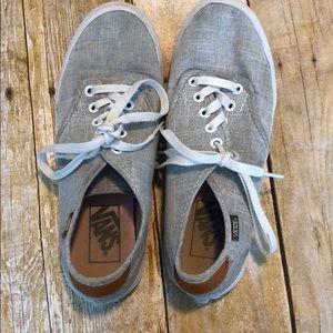 Women's grey linen vans sneakers